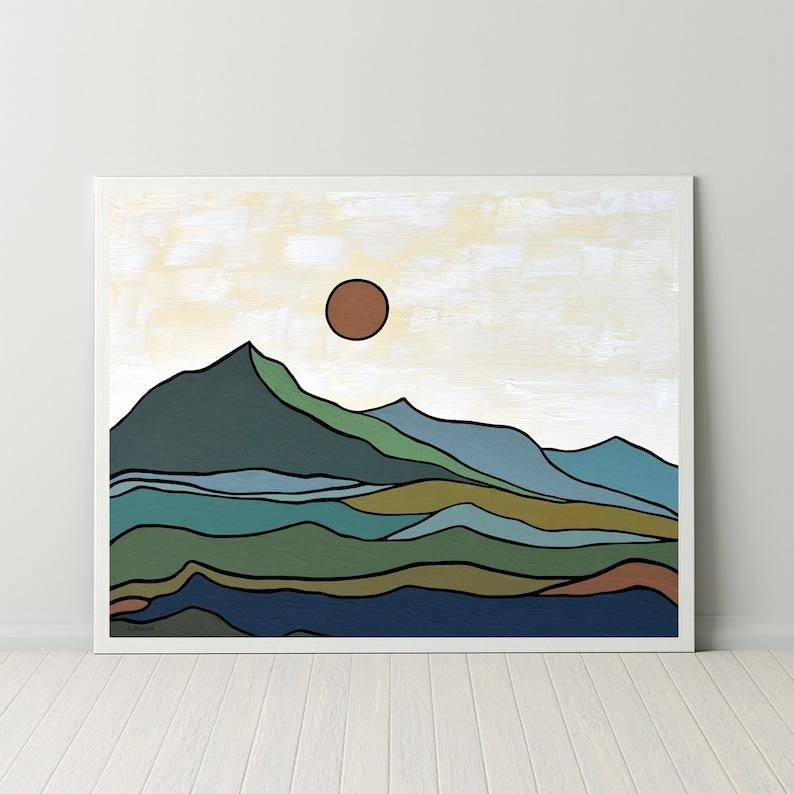 Mountain Wall Art Minimalist Mid-Century Modern Landscape Art image 0