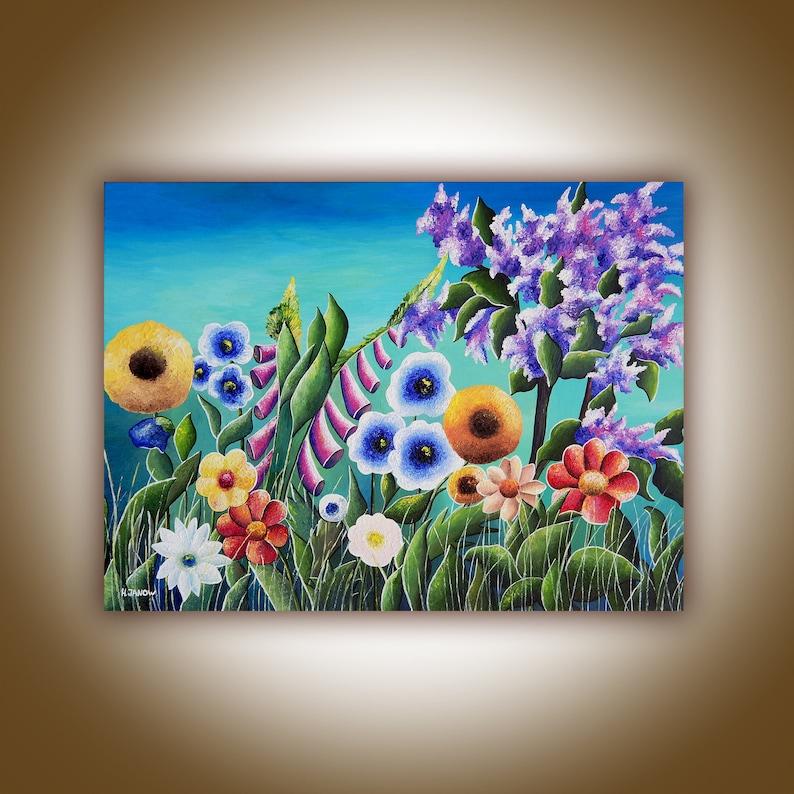Original Flower Painting Gauguin Inspired Meadow Painting image 0