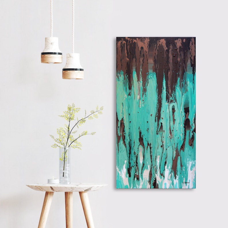 Original Acrylic Pour Painting on Canvas Turquoise Home image 0