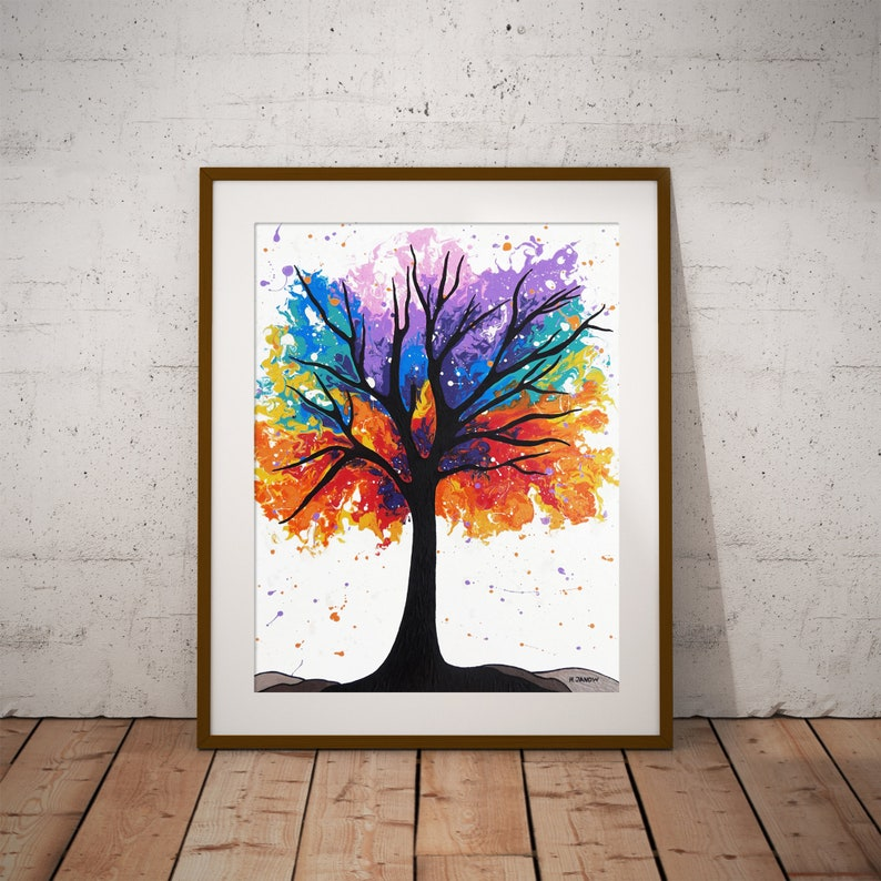 Rainbow Tree Wall Art Print from Acrylic Pour Painting image 0