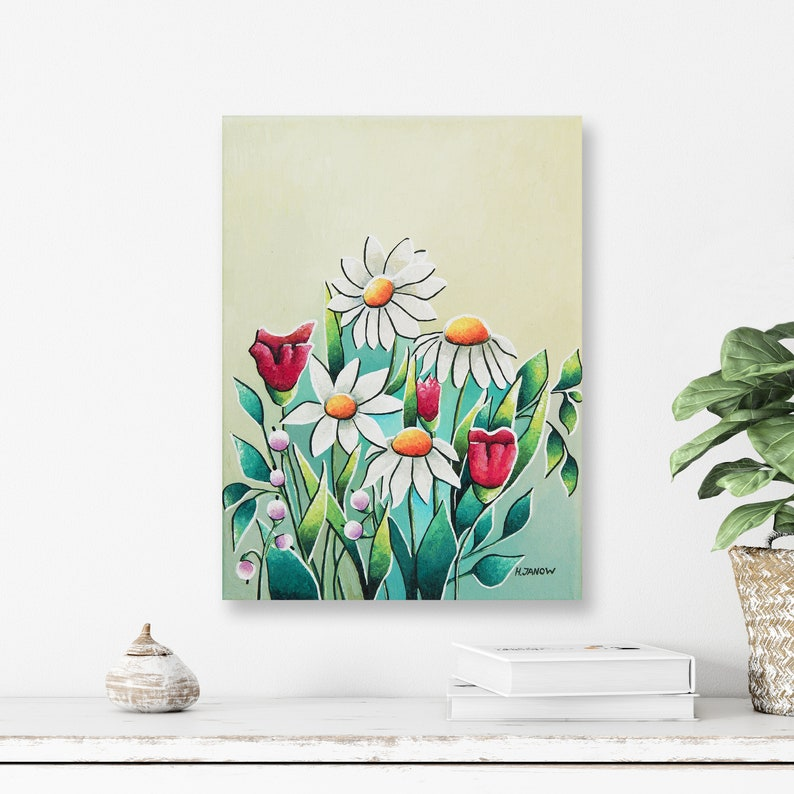 Original Daisy Flower Painting On Canvas  Wildflower Painting image 0