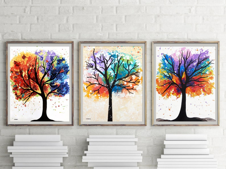 Rainbow Tree of Life Wall Art Gallery Wall Prints Set of 3 image 0