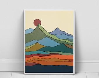 California Mountain Wall Art Print, Minimalist Mid-Century Modern Landscape, Scandinavian Art Style, Nature Art