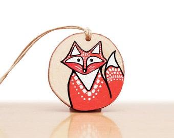 Wooden Holiday Christmas Tree Fox Ornament, Rustic Woodland Animal Art, Christmas Gift with Box