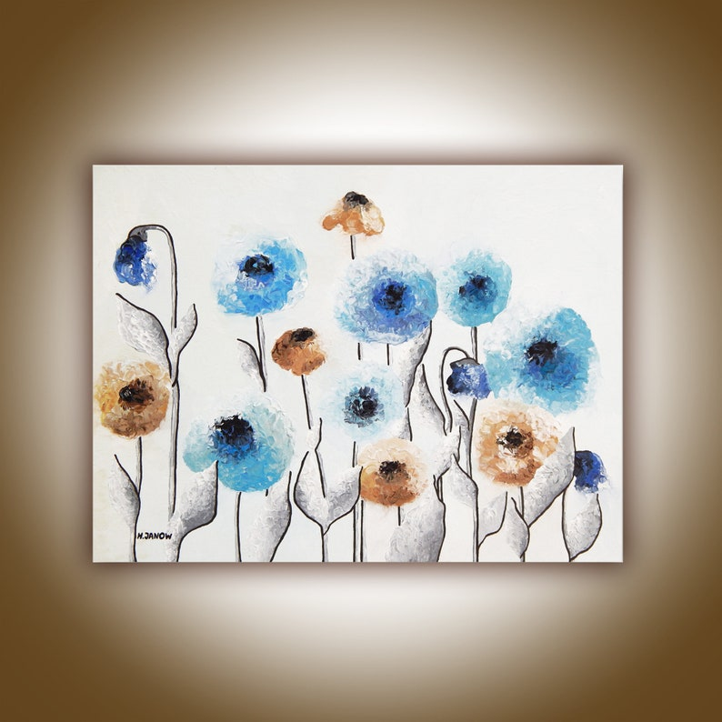 Abstract Flower Wall Art  Acrylic Pour Painting on Canvas  image 0