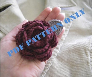 PDF CROCHET PATTERN - Organic Cotton Crochet Rose Brooch in Garnet Color