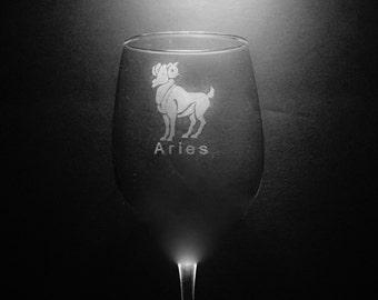 Aries Wine Glass