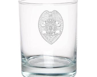 Police Department 25 Ounce Personalized Rocks Glass