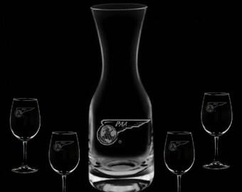 Pan Am Wine Carafe & 4 Glass Set