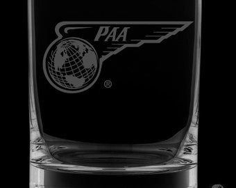 Pan Am Wing Globe Rocks Glass.