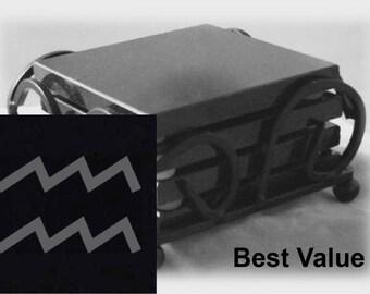 Aquarius Drink Coasters Made Out Of Black  Granite, or Polished Slate (Black Granite - Best Value)