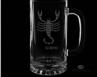 Scorpio 16 Ounce Personalized Beer Mug