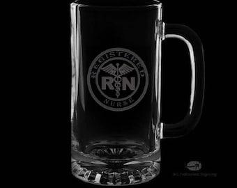 Registered Nurse 16 Ounce Personalized Beer Mug