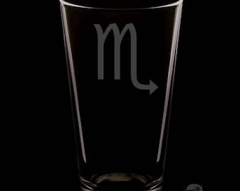 Scorpio 16 Ounce Personalized Pint Glass