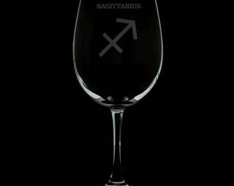 Sagittarius 13 Ounce Personalized Wine Glass