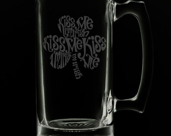 Irish Clover 25 Ounce Beer Mug (Also Available in 16oz & 12oz)