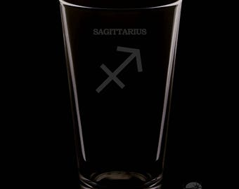 Sagittarius 16 Ounce Personalized Rim Tempered Pint Glass