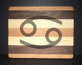 "Cancer 8""X 10"" Hand Made Cutting Board (Also Available in 7""X 9"" & 12""X 14"")"