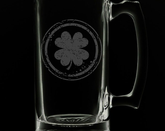Featured listing image: Irish Clover 25 Ounce Beer Mug (Also Available in 16oz & 12oz)