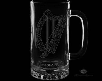 Irish Harp 16 Ounce Personalized Beer Mug