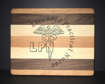 LPN Nurse Cuttingboards Made Out Of Cherry, Black Walnut, and Maple (8 X10 size displayed)