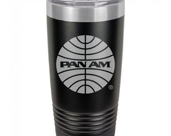 PanAm 1957 Logo 20 Ounce Black Polar Camel Tumbler (Also Available in Red, White, Gray, & Blue)