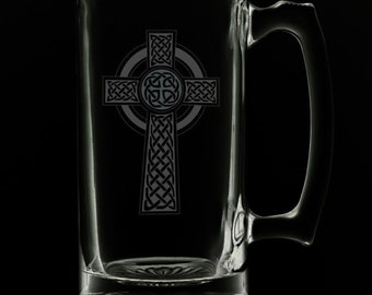 Irish Celtic Cross 25 Ounce Beer Mug (Also Available in 16oz & 12oz)