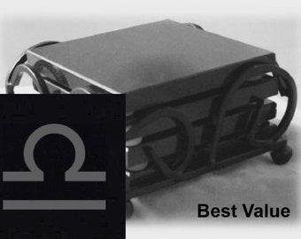 Libra Drink Coasters Made Out Of Black  Granite, or Polished Slate (Black Granite - Best Value)