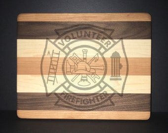 Volunteer Fire Department Maltese Cross Cuttingboards Made Out Of Cherry, Black Walnut, and Maple (8 X10 size displayed)