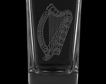 Irish Harp 2.75 Ounce Dessert Shot Glass (Also available in 2.0oz)