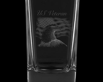 US Veteran 2.75 Ounce Dessert Shot Glass (Also available in 2.0oz)