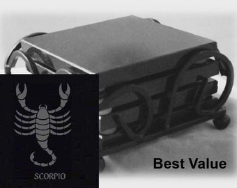 Scorpio Drink Coasters Made Out Of Black  Granite, or Polished Slate (Black Granite - Best Value)