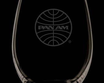 Pan American Airways 13 Ounce Personalized Stemless Wine Glass