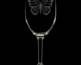 Monarch Butterfly 12 Ounce Wine Glass (Available With Stem 12 Oz, And Stemless 12 & 15 Oz)