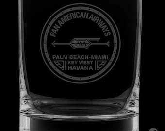 Pan Am 12 Ounce 1927 Logo Rocks Glass