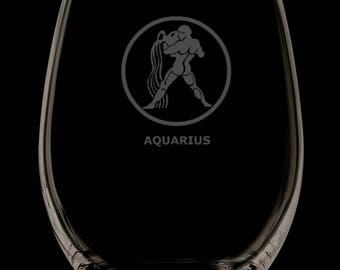 Aquarius 13 Ounce Personalized Stemless Wine Glass