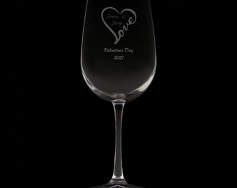 Valentines Day 2021 12 Ounce Wine Glass (Available With Stem 12 Oz, And Stemless 12 & 15 Oz)