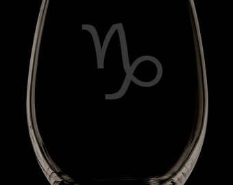 Capricorn 13 Ounce Personalized Stemless Wine Glass