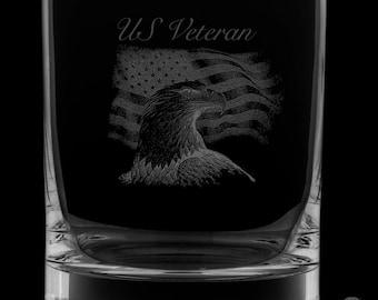 US Veteran 12 Ounce Rocks Glass