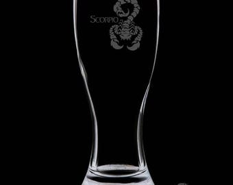 Scorpio 18 Ounce Personalized Pilsner Glass