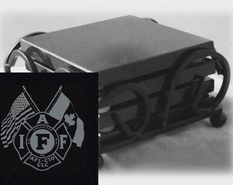 IAFF Drink Coasters Made Out Of Black  Granite, or Polished Slate (Black Granite - Best Value)