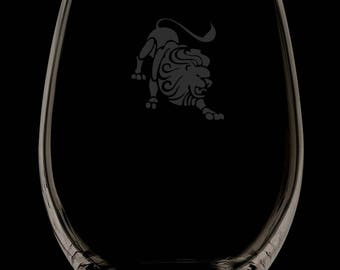 Leo 13 Ounce Personalized Stemless Wine Glass