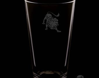 Leo 16 Ounce Personalized Rim Tempered Pint Glass