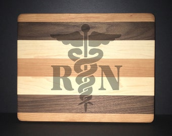 Registered Nurse Cuttingboards Made Out Of Cherry, Black Walnut, and Maple (8 X10 size displayed)