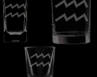 Aquarius Symbol Shot Glassware