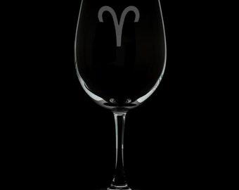 Aries Wine Glass.