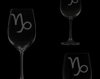 Capricorn Symbol Wine Glassware