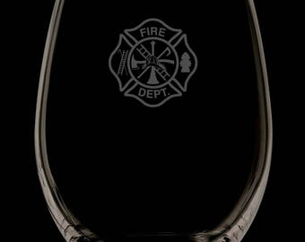 Fire Department 13 Ounce Personalized Stemless Wine Glass