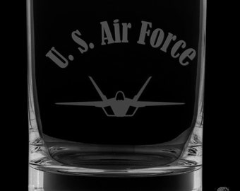United States Air Force 12 Ounce Rocks Glass