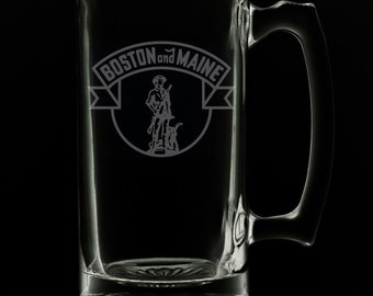 Boston And Maine Railroad Logo 25 Ounce Beer Mug (Also Available in 16oz & 12oz)